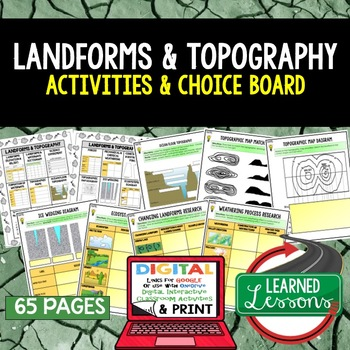Landforms & Topography Choice Board Activities with Google Link (Earth Science)