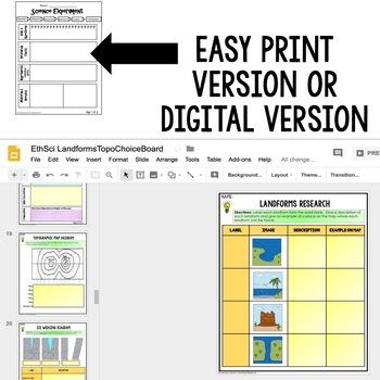 Landforms & Topography Activities, Choice Board, Print & Digital, Google