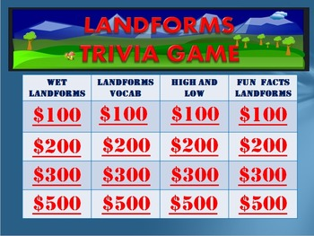 Geography: Land Forms Trivia Game:  Fun Stuff!