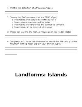Landforms: Valleys, Desert, Mountain, Island, Plateau