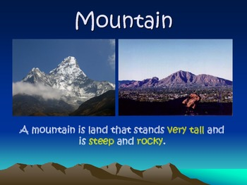 Landforms Vocabulary Picture Powerpoint
