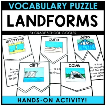 Landforms: Vocabulary Puzzle Cards