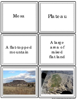 Landforms Vocabulary Task Cards