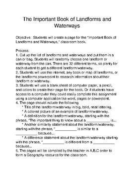 Landforms Waterways Class Project