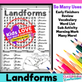 Landforms Word Search Activity