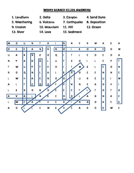 Landforms Word Search