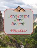 Landforms Word Search *FREEBIE*