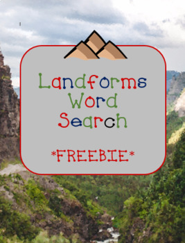 Landforms Word Search *FREEBIE*