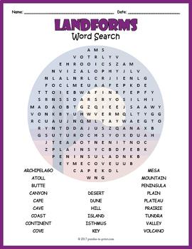 Landforms Word Search Puzzle