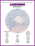 Geography Landforms Word Search Puzzle
