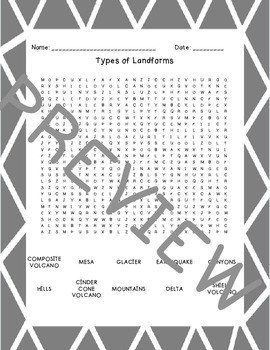 Earth's Features/Landforms Word Searches
