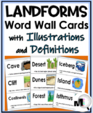 Landforms Social Studies Word Wall Cards with Illustrations and Definitions