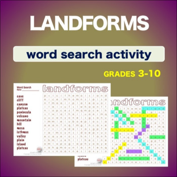 Landforms * WordSearch * Vocabulary* Warm Up * Bell Ringer *