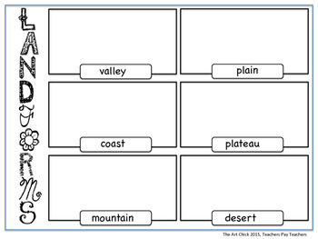Landforms Worksheet