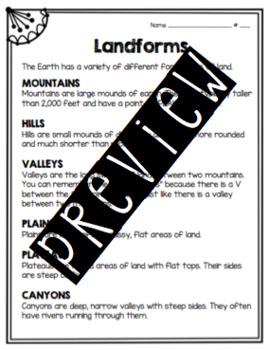 Middle School Junior High Landforms Printable Worksheets page 1 ...