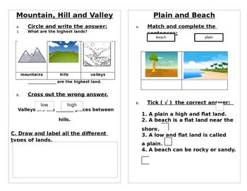 Landforms-Worksheet: Mountain, Hills, Valley, Beach, Plain