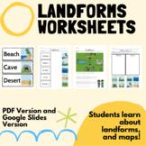 Landforms Worksheets: Learn Map Skills!  PDF Version & Goo