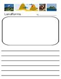 Landforms Writing Paper