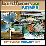 Landforms and Biomes Clip-Art.  80 Pieces BW/COLOR!
