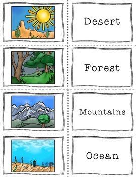 Landforms and Biomes Matching Game