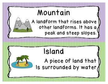 Landforms and Biomes Word Wall