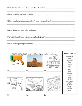 Landforms and Bodies of Water Assessment