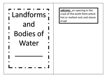 Landforms and Bodies of Water Booklet to Illustrate and Vocabulary Cards