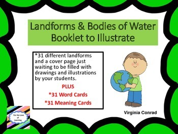 Landforms and Bodies of Water Booklet to Illustrate and Vo