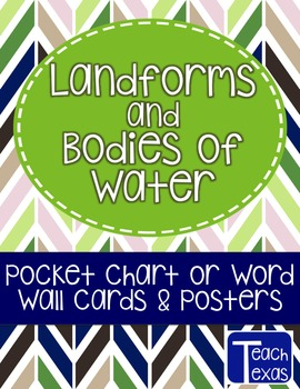 Landforms and Bodies of Water - Pocket Chart or Word Wall Cards & Posters