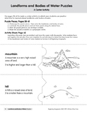 Landforms and Bodies of Water Puzzles