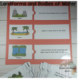Landforms and Bodies of Water - Puzzles and Notebook Reference