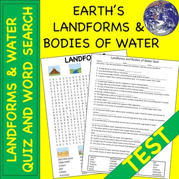 """Landforms and Bodies of Water """"Quiz"""""""
