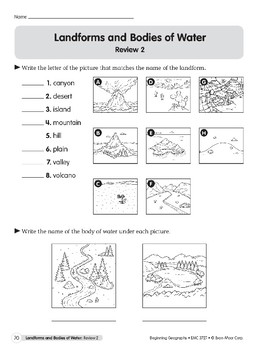 Landforms and Bodies of Water Reviews