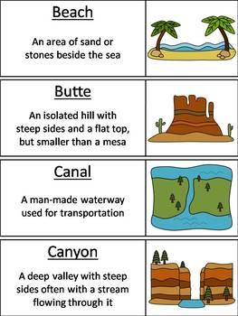 Landforms and Bodies of Water Word Wall Cards