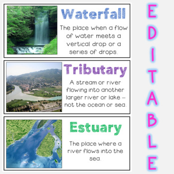 Landforms and Bodies of Water Word Wall - Vocabulary