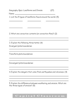 Landforms and Climate quiz or study guide