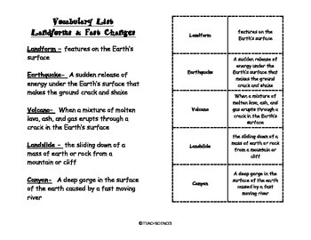 Landforms and Fast Changes Vocab Pack