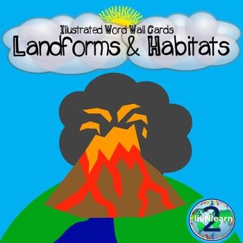 Illustrated Word Wall Cards: Landforms and Habitats (Photos)