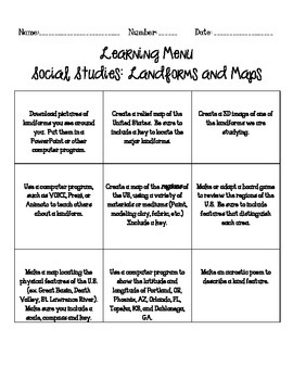 Landforms and Maps Learning Menu