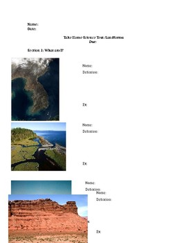 Landforms and Oceans Test