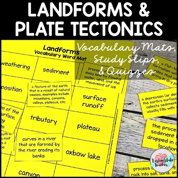 Landforms and Plate Tectonics Vocabulary Mats, Study Slips, and Quizzes