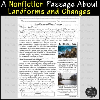 Landforms And Their Changes Reading Comprehension Paired
