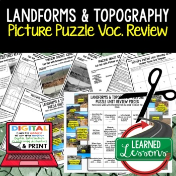 Landforms and Topography Picture Puzzle Study Guide Test Prep
