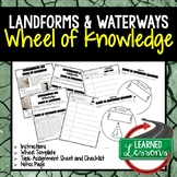 Landforms and Waterways Activity, Wheel of Knowledge Interactive Notebook