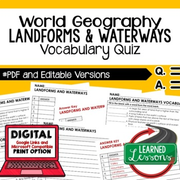 Landforms and Waterways Vocabulary Quiz Geography Assessment