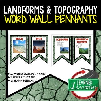 Landforms and Waterways Word Wall Pennants (Earth Science Word Wall)