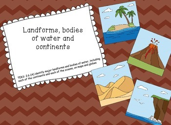 Landforms, bodies of water and continents picture/ vocabulary