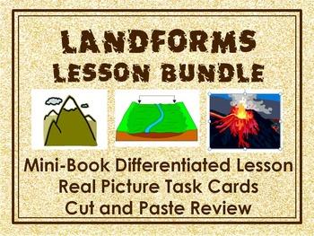 Landforms bundle: Mini- Book Lesson, Real Picture Task Cards, Cut & Paste