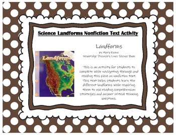 Landforms by Mary Adams Newbridge Discovery Links Science Nonfiction Activity