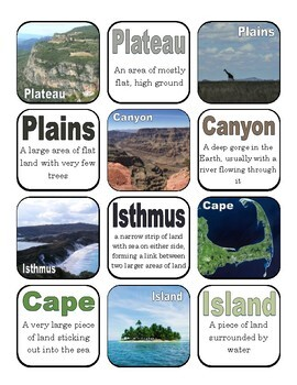 Landforms of Earth Go Fish or Matching Game